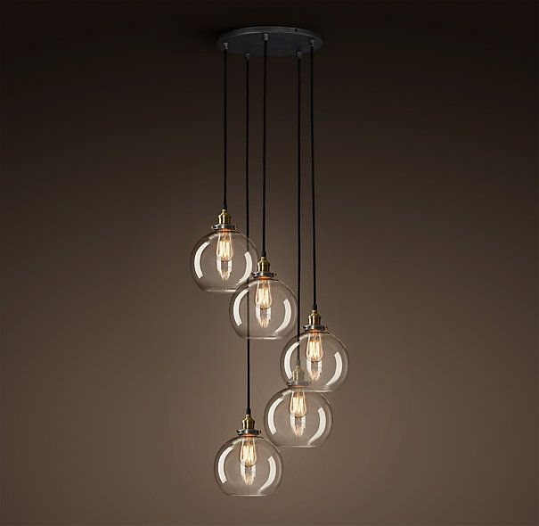 20th C Factory Filament Clear Glass Caf 233 Round Chandelier