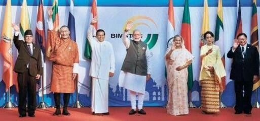 Seven-nation solidarity: Prime Minister Narendra Modi with Myanmar's State Counsellor and Foreign Minister Aung San Suu Kyi (second from right); Sri Lankan President Maithripala Sirisena (third from left); and the Prime Ministers of Nepal, Bhutan, Bangladesh and Thailand, (from left) Pushpa Kamal Dahal, Tshering Tobgay, Sheikh Hasina and Prayut Chan-o-cha, during the opening ceremony of the BIMSTEC outreach summit in Mobor, Goa on Sunday. — Photo: PTI