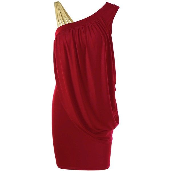 One Strap Skew Collar Slimming Drape Dress (1,230 INR) ❤ liked on Polyvore featuring dresses, draped cocktail dress, slimming cocktail dresses, drapey dress, one strap dresses and red cocktail dress