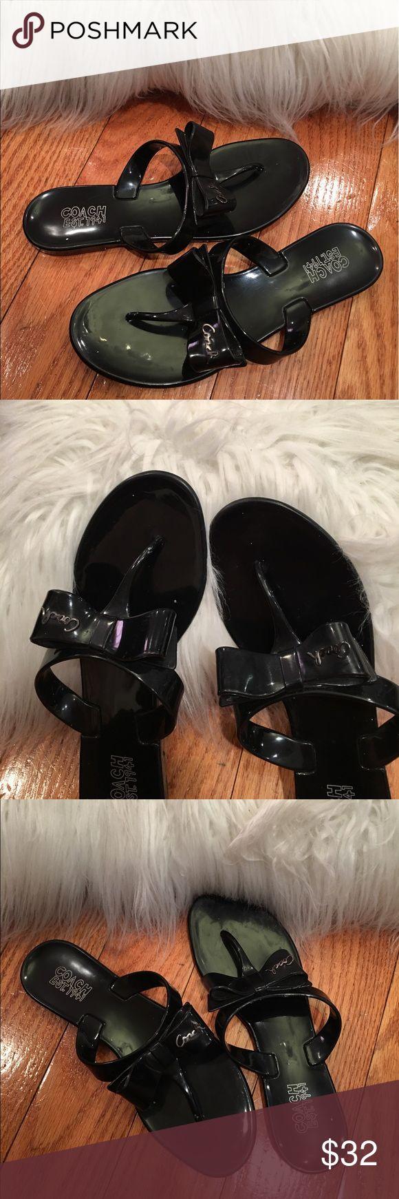 Coach 7B Women's Shoes Black Plastic Sandals Jelly Coach 7B Women's Shoes Black Plastic Sandals Flip Flops Bow 'Pretty Us' Jelly Coach Shoes Sandals