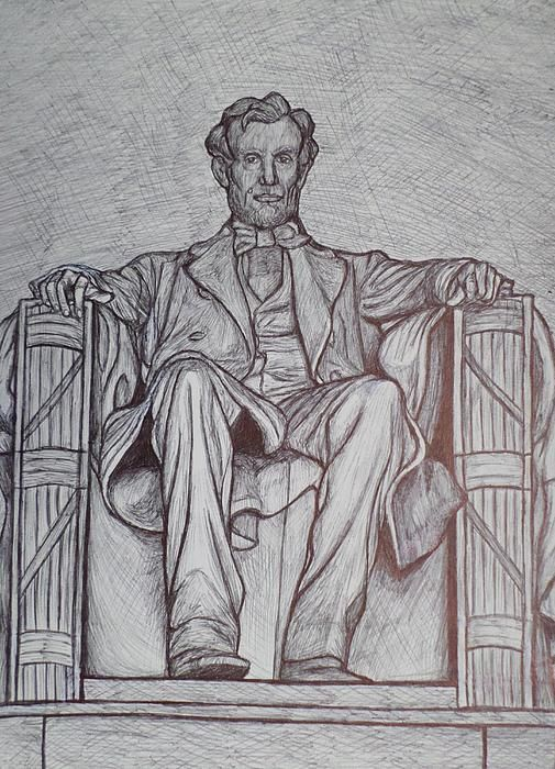 When I have visited Washington, I always felt like Lincoln's eyes followed me around the Lincoln Memorial. When social studies magazines came in for my students, there was a photo of Lincoln staring at me. It seemed like the perfect time to do a pen and ink sketch of this historic figure, inspirational person and great President of our country.