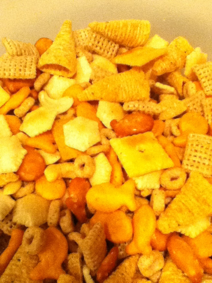HOMEMADE MIX~  Dressing: 1pkg- hidden valley ranch (dry) 1 1/4 cup veg. Oil  1tsp garlic salt. 1 1/2 tsp dill weed (optional)  Mix together and pour over mix.  Ingredients: chez cereal, oyster crackers, cheez it's, gold fish, bugles, pretzels, cashews, and Cheerios.  Bake @ 300• for 20 minutes. Take off top layer and put on paper bag. Bake the rest for 15-20 minutes.
