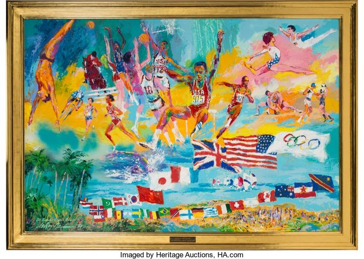Leroy Nieman - 1984 Los Angeles Summer Olympics 72 x 48 Original Oil on board sold February 2017 at Heritage Auctions for $156,000 US