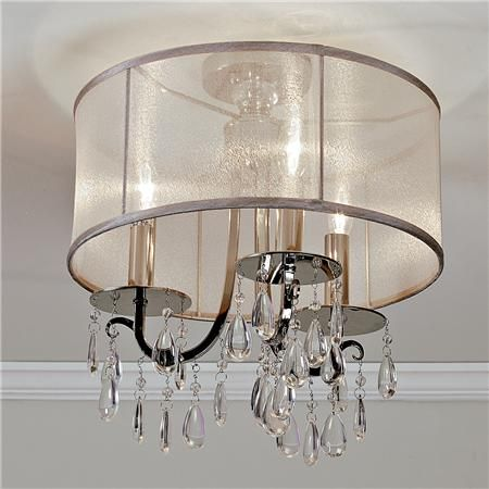 Modern Glam Shaded Crystal Ceiling Light 3 Pinterest Lights Sheer Shades And Elegant Chandeliers