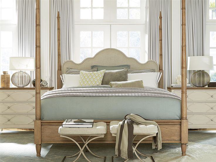 The King size four poster bed is crafted of solid hardwoods, hickory wood veneers and finished in a light Bisque finish. Featuring adjustable height posts and linen upholstered headboard with decorative nailhead trim (https://www.zinhome.com/french-modern-king-four-poster-bed-frame/)