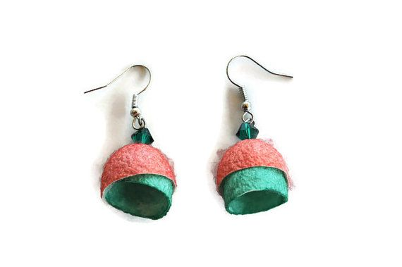 Silk Cocoon earrings, Salmon green earrings, boho earrings, discreet earrings, silk jewelry, Christmas gift, gift for woman, mother gift