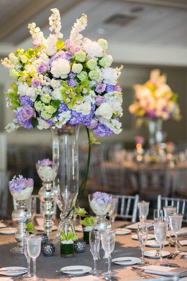 Tall Centerpieces; Cold Spring Country Club Wedding, New York - The Coordinated Bride; Sarah Tew Photography