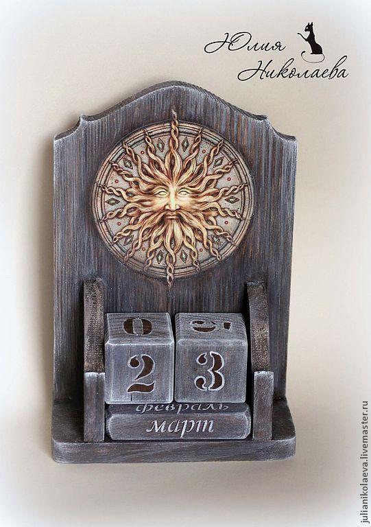 Купить Вечный календарь Солнце и Луна - серый, вечный календарь, календарь, календарь ручной работы