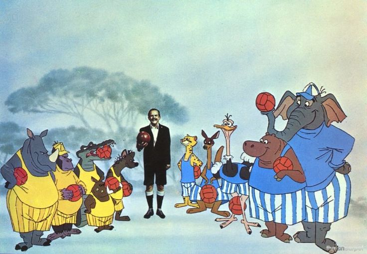 Referee Mr Brown (David Tomlinson) with the Yellows and Blues in Bedknobs and Broomsticks (1971).