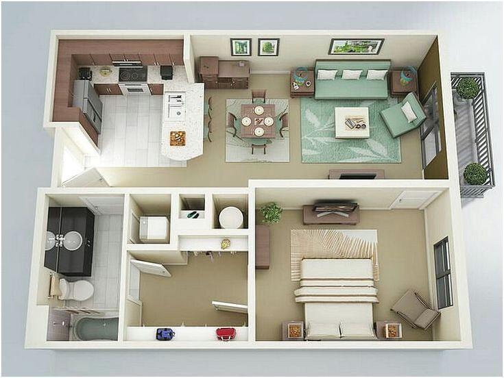 Contoh Gambar Denah Rumah 1 Kamar Tidur 3D