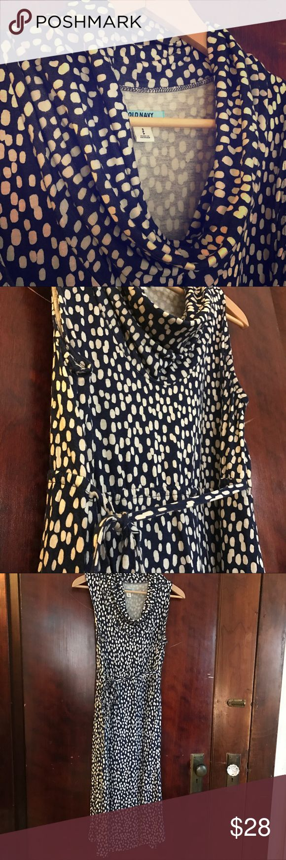 Old navy maternity dress. White dots on navy dress Adorable summer maternity dress with cowl neck. Pair with or without a cardigan. Hits just at the knee. Old Navy Dresses
