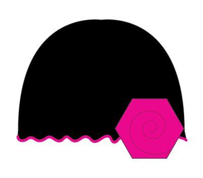 vintage hat: black/hot pink flower