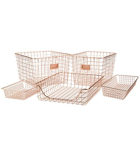Copper Wire Scoop Tray and Bins. Copper storage bins. Copper storage trays. Desk top organization. Get organized. Storage solutions. Desk storage. Paper storage.