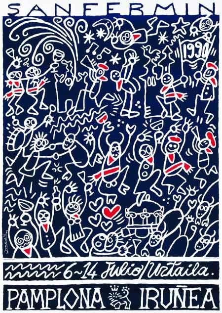 Cartel San Fermín 1990 | Diseños de carteles publicitarios de fiestas populares de España.