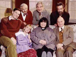 The Vicar of Dibley cast. From left - Back row: Hugo, Frank, Jim, Owen. Front row: Alice, Geraldine, David