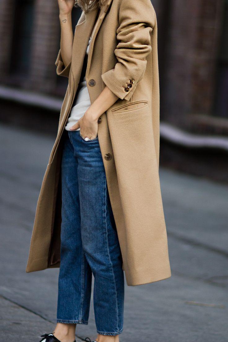 Camel coat, white t-shirt, blue jeans + black lace-ups | @styleminimalism