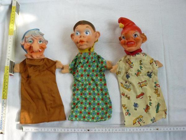 3 poppenksstpoppen, waaronder een heks - Kasperlefiguren Hexe 📌 📍