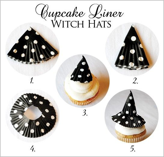 Halloween cupcake witch hats