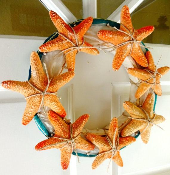 Starfish Aqua Beach Wreath and Centerpiece by seashelldesignco,