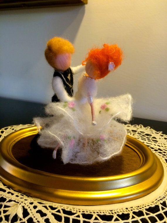 Naald vilten poppen wol dans paar Bruiloft Waltz wit door DreamsLab3