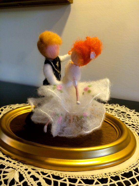 Needle felted dolls Wool Dance couple Wedding Waltz by DreamsLab3