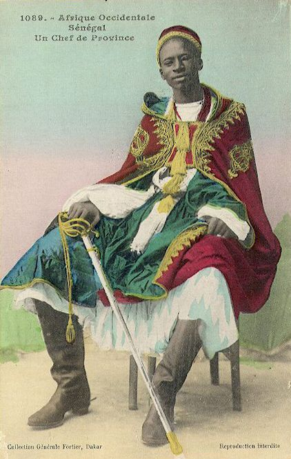"""Africa   """"A Provincial Chief"""". Senegal. ca. early 1900s.    Scanned vintage postcard; published by Fortier"""