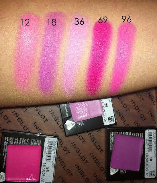 Inglot lipsticks swatches 12, 18, 36, 69, 96
