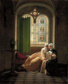 Jean-Baptiste Mallet (1759-1835) Héloïse à l'abbaye du Paraclet, huile sur toile, Grasse, Musée Fragonard (6)- La 3° salle montre un artiste beaucoup moins connu que les deux 1°, Jean-Baptiste Mallet, né à Grasse qui se spécialisa dans la peinture de genre souvent exécutée à la gouache et à l'aquarelle. Fortement marqué par l'art hollandais, il fut aussi l'auteur de petits tableaux troubadour (6)  ou de scènes érotiques et anacréontiques influencées par Fragonard (le déjeuner de…