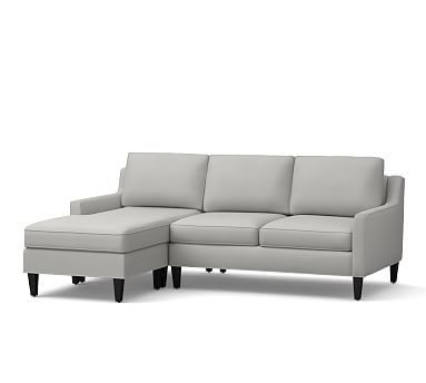 Beverly Upholstered Left Arm Sofa with Chaise Sectional, Polyester Wrapped Cushions, Organic Twill Gray