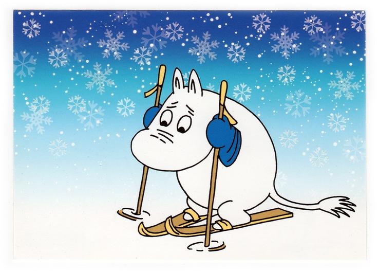 Moomintroll skiing