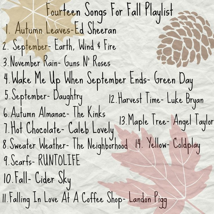 Fourteen songs for your Fall Playlist <3