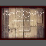 "Rustic Country Vintage Barn Wood Double Intertwined Hearts Wedding RSVP reply cards on a distressed wood background.  These are great for rustic country weddings.  There are floral vine accents on the top and the bottom.  Just edit the template with your own wording.  Use the ""Customize It"" button if you need to  move things around."