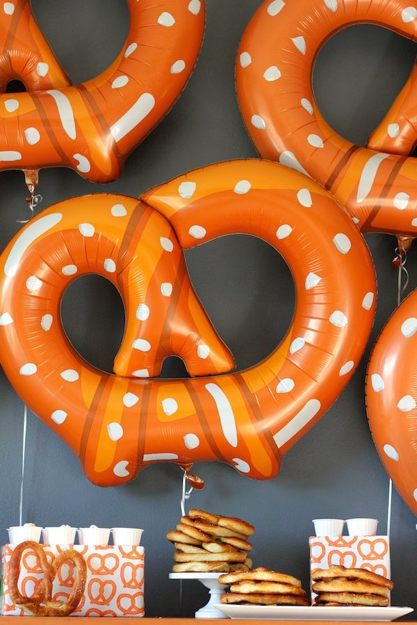 Pretzels = the universal party theme. Works for birthdays, wedding showers (tying the knot), Bar Mitzvahs, kids, adults, summer, winter - you name it.