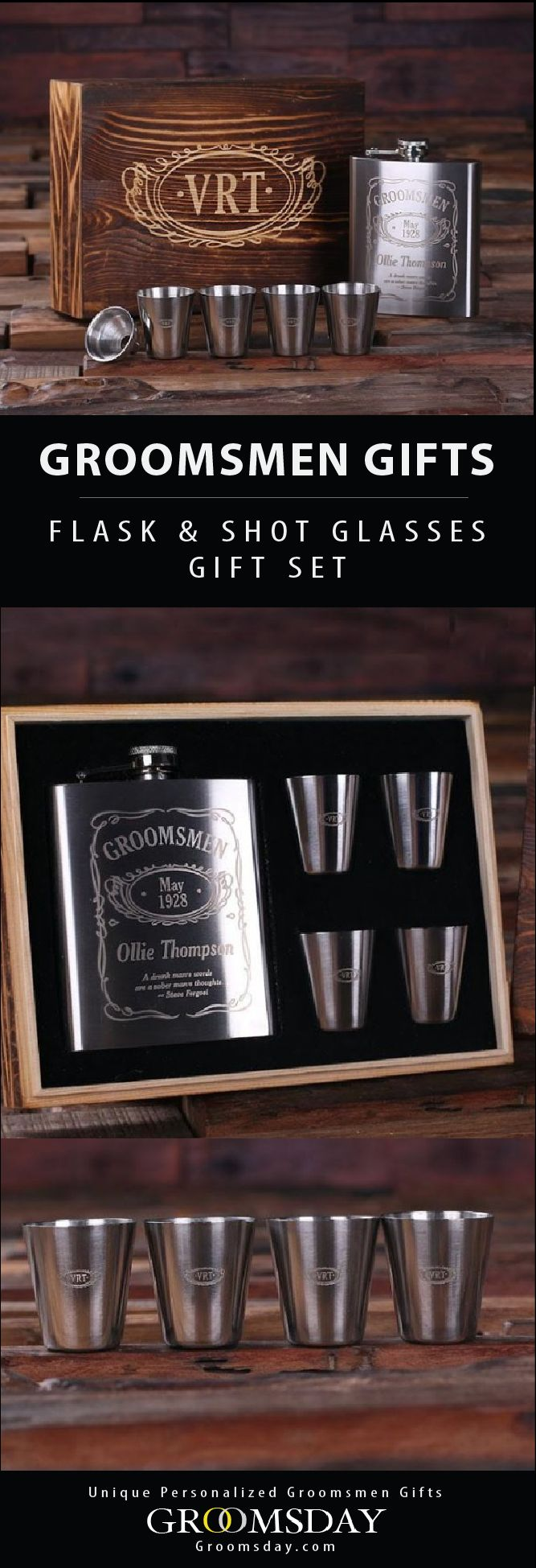 Surprise the deserving groom or groomsman with this personalized engraved flask and shot glass gift set. Comes with 1 whiskey flask, 4 steel shooters, in an engraved wooden box. Check out our huge selection of Groomsmen Gifts, Best Man Gifts, Groom accessories, Gifts for Men, Birthday Gifts for Him, Father of the Bride Gifts, Father's Day Gifts, Anniversary Gifts, Monogrammed Gifts, Valentines Gifts, Sports Gifts & More! Share & Repin! Only from Groomsday || Groomsday.com #flask #hipflask…