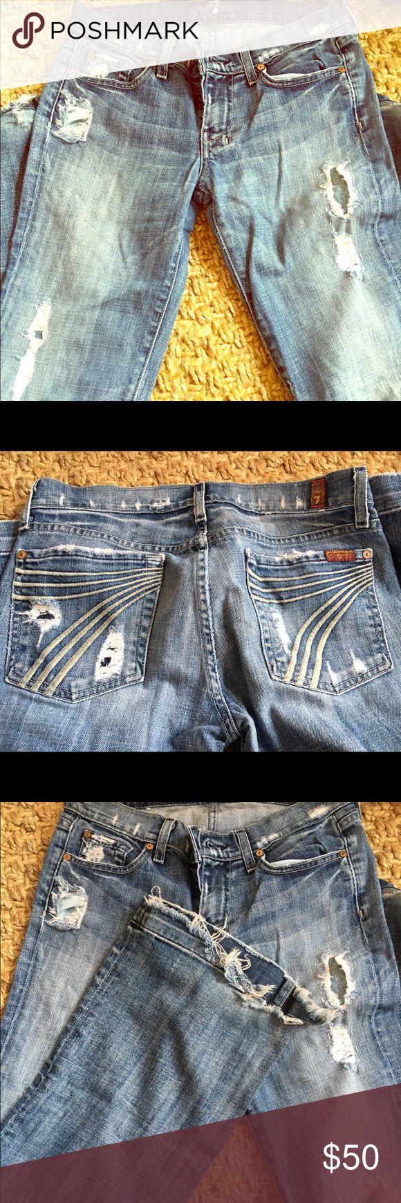 Distressed Seven jeans Distressed seven jeans. Light wash. Flare leg. Seven7 Jeans Flare & Wide Leg
