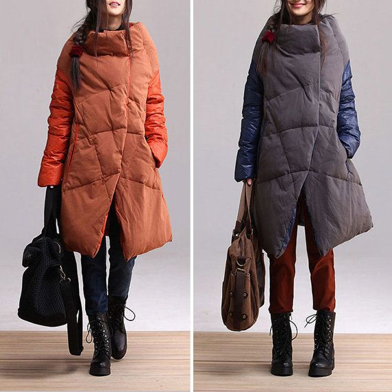 2colors orange and navy blue  plus size cotton collar down jacket casual jacket asymmetrical stitching clothing  AOLO-446