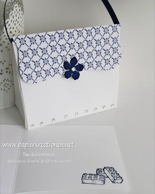 Anleitung/ Tutorial für eine kleine Handtasche mit passender Karte, gefertigt mit Produkten von Stampin' Up! www.papierkreationen.net