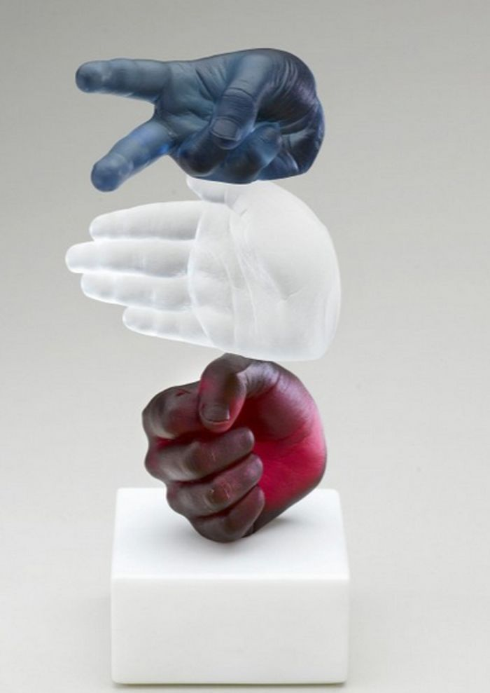 """Rock, Paper, Scissors"" Glass Sculpture -- Wrightson & Platt:"