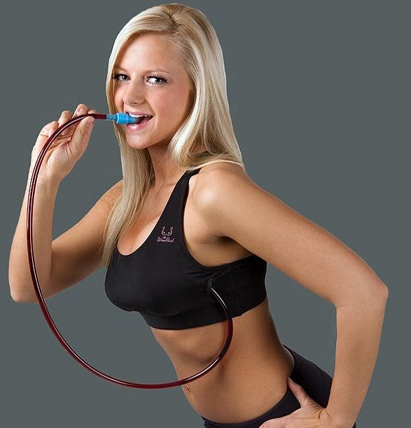 This wine rack makes it so that you can sneak alcohol anywhere in a sports bra! #wine #bra WTF