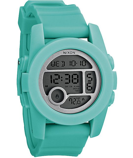 The Unit 40 watch from Nixon is now in light blue and has a smaller face than the original Unit watch. This all digital watch has a silky soft double injected silicone band so your arm hairs will remain intact, digital display of the time with seconds, te