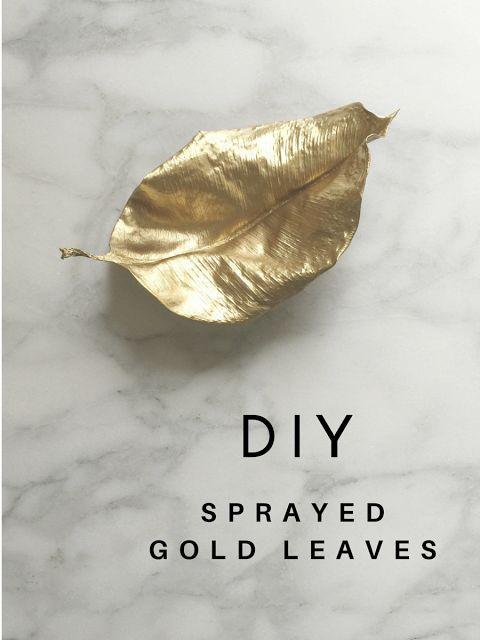 DIY Summer School // Sprayed Gold Leaves