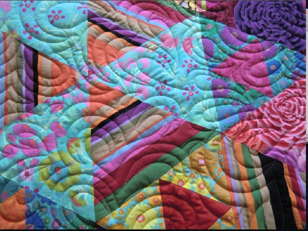 fleurige quilt...close up