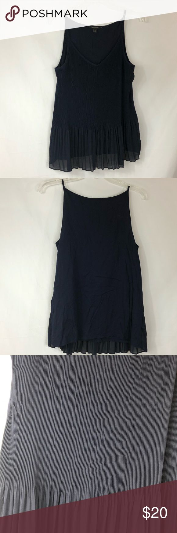 Banana Republic Navy Pleated Tank Size M Super fine pleating Spagetti straps Sheer front that is lined Cotton back Please see pictures for materials, care and measurements. 6024  Banana Republic Tank perfect with a cardigan for office or evening wear. Banana Republic Tops Camisoles