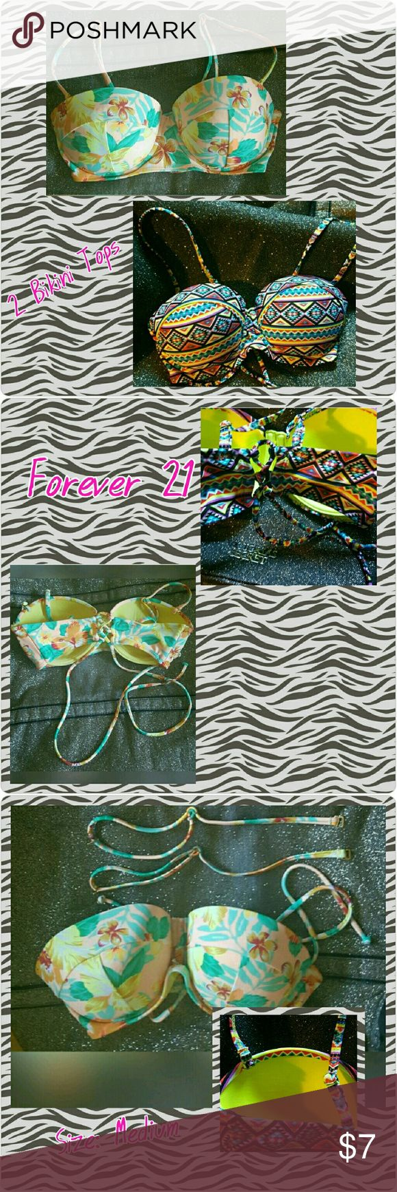 🎊2 Forever 21 Bikini Tops Size Medium (see last pic for sizing guide) Light padding Feels like a bustier Detachable straps to make it strapless or halter  Criss cross back tie for a secure hold Tag was silicone/plastic F21 tag & taken off Cotton candy Hawaiian design🌺 && Aztec neon design 🌶 In beautiful condition🎀  They werw meant to be back up bikini tops this summer that didn't end up being worn.   Ships next day🎁🚀 Take advantage of my bundle discount👌 Forever 21 Swim Bikinis