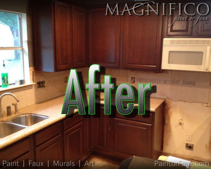 Builder grade oak cabinets refinished converted from for Builder grade oak kitchen cabinets