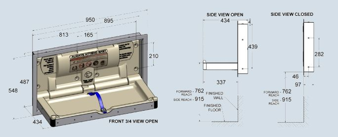 BCP-SSC-R Stainless Steel Parallel Baby Change Table