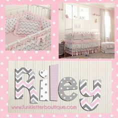 Pink and Gray Chevron Nursery Letters | hand painted wall letters| www.funkyletterboutique.com
