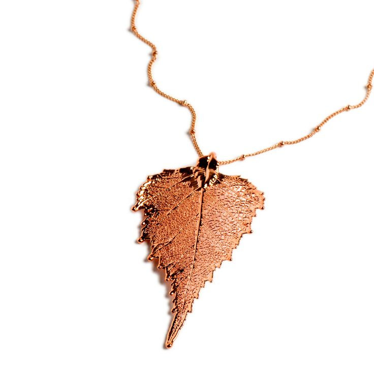 Celebrate the beauty of nature with this stunning pendant made from a real birch leaf.  View online: http://www.english-heritageshop.org.uk/jewellery/rose-gold-birch-leaf-pendant