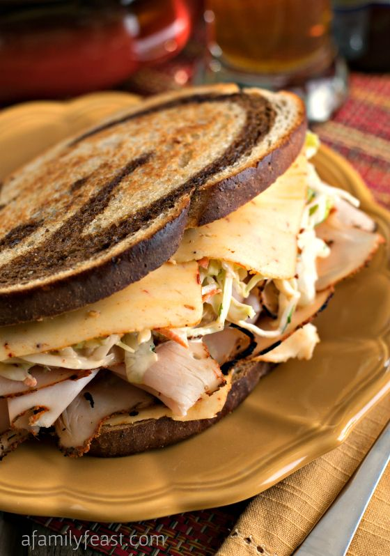 Southwestern Rachel Sandwich with Southwestern Slaw   Make this delicious sandwich at home! Boar's Head Boldest Bracket Challenge #sponsored #BHBoldestBracket