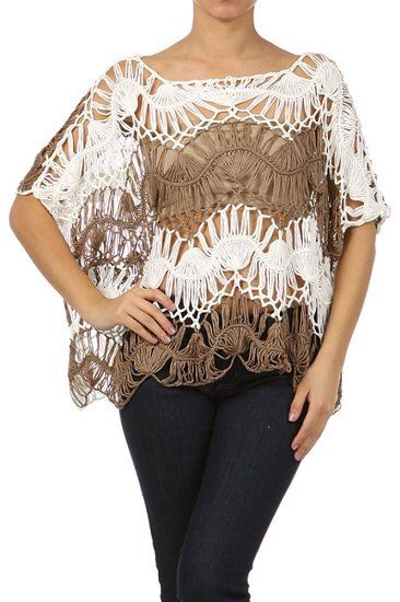 Amazon.com: Kiwi Co. Two Tone Dolman manga del ganchillo del Knit Top: Ropa